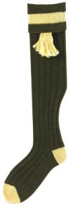 Bisley Olive Mustard Shooting Stocking With Garters