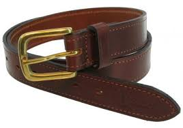Bisley Stitched Brown Leather Belt