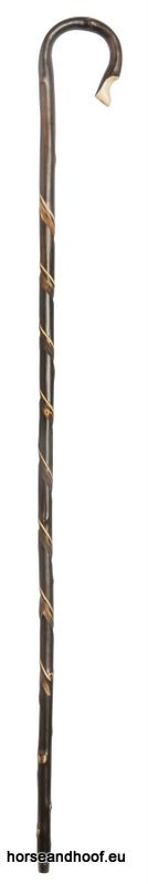 Classic Canes Chestnut Shepherd's Crook with Scorched Shaft and Carved Spirals
