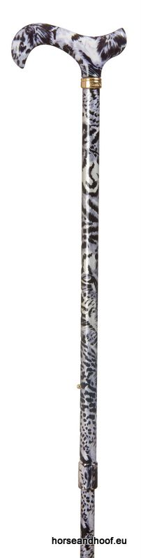 Classic Canes Extending Fashion Derby Stick - Silver Snow Leopard
