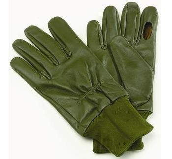 Green Leather Shooting Gloves