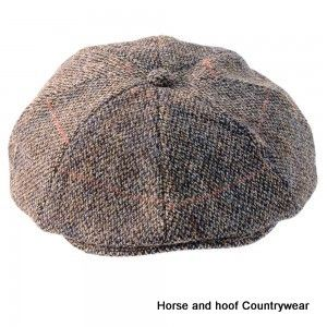 Heather Hats Arran Harris Tweed Flat 8pc Cap - Grey