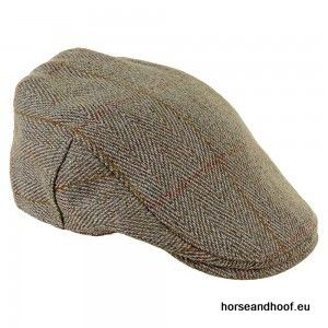 Heather Hats Fox Derby Tweed Flat Cap - Dark Green/Gold Stripe
