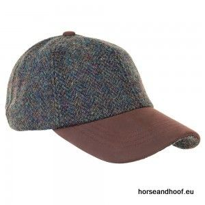 Heather Hats Glencairn Harris Tweed Leather Peak Baseball Cap - Forest