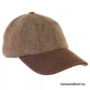 Heather Hats Glencairn Harris Tweed Leather Peak Baseball Cap - Olive/Gold