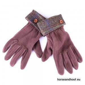 Heather Hats Ladies Allegra Fleece Glove w/Tweed Cuff - Dark Brown/Blue Check