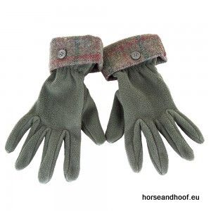 Heather Hats Ladies Allegra Fleece Glove w/Tweed Cuff - Forest Green/Wine Check