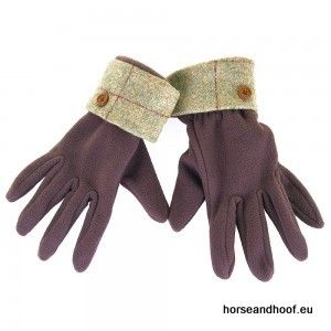 Heather Hats Ladies Allegra Fleece Glove w/Tweed Cuff - Light Olive/Red Check
