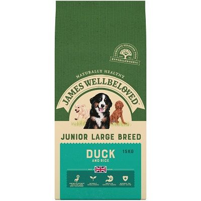 James Wellbeloved Duck & Rice Large Breed Junior Dog Food 15kg
