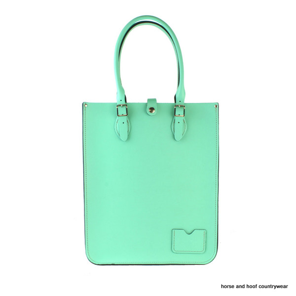 Traditional Hand Crafted British Vintage Leather Tote Bag - Fresh Mint